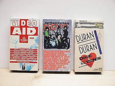 Duran Duran VHS lot of 3 -- Decade, Dancing on the Valentine, Video Aid -- 1980s
