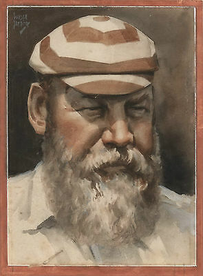 W.G. GRACE CRICKETER original portait by WALTER JARDINE w Collector's Card 1930s