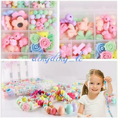 1Box Colorful Jewelry Beads For Kids Children Crafts Educational Training DIY L