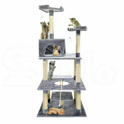 2M Cat Scratching Post Tree Gym House Condo Furniture Scratcher Grey