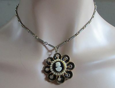 """CORO signed VINTAGE CAMEO seed pearl ORNATE pendant 16"""" chain black white"""