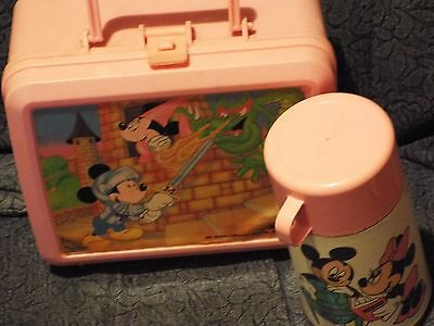 Vintage Aladdin Thermos And Plastic Lunchbox.mickey And Minnie