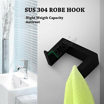 Black Double Wall Hook Towel Robe Rack Rail Stainless 304 Bathroom Holder Hanger