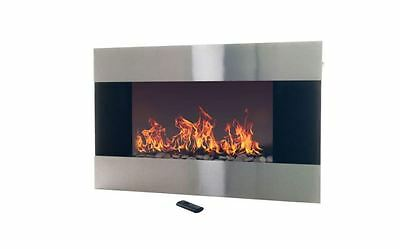 Northwest 35 in. Stainless Steel Electric Fireplace with Wall Mount Remote New