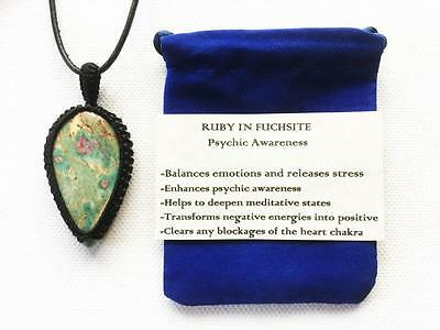 Ruby In Fuchsite Pendant Crystal Gemstone Necklace, Adjustable Chain, With Pouch
