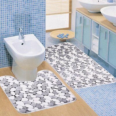 2pc/Set Coral Velvet Home Bathroom Carpet Non-slip Water Absorption Floor Mat I&