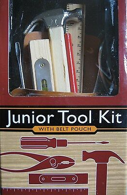 Junior Tool Kit Sturdy Belt Pouch 6 Real Working Wood & Metal Tools Small Size