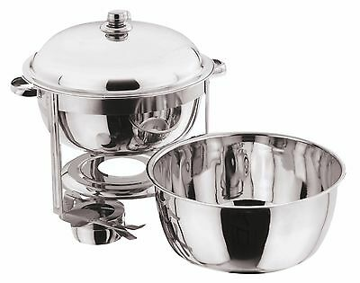 8.5 Litre Deep Stainless Steel Round Chafing Dish Solid Lid Food Warmer Catering