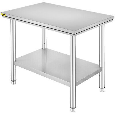2x3FT Kitchen Work Prep Table Extra Thick Stainless Steel Vevor Storage Space
