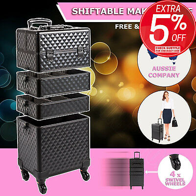 7 in 1 Portable Cosmetic Makeup Case Organizer Carry Bag Luggage Trolley Diamond