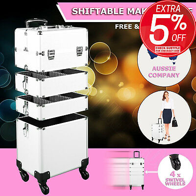 7 in 1 Portable Cosmetics Makeup Case Organizer Carry Bag Luggage Trolley Silver