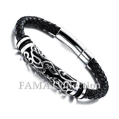 Quality Stylish FAMA Black Leather Bracelet with Stainless Steel Pattern Centre