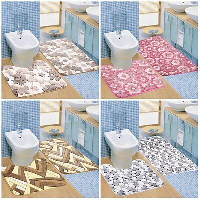 2pc/Set Coral Velvet Home Bathroom Carpet Non-slip Water Absorption Floor Mat P&