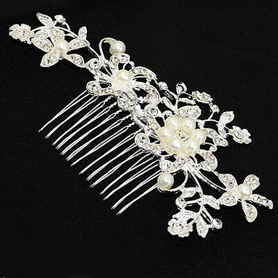 Silver Flower Crystal Pearl Hair Comb Clip Slide Bridal Wedding Hair Jewelry uk