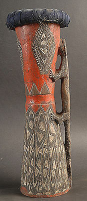 Old Authentic Lake Sentani Ceremonial Hand Drum Great Patina Papua New Guinea