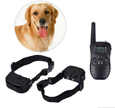 Dog Bark Collar 300M LCD 100LV 300 Yard Level Electric Shock Vibration Remote