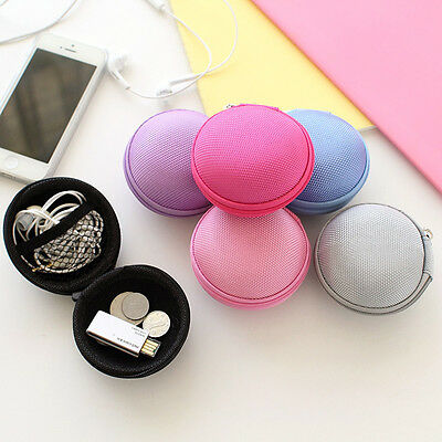 Earphone Headphone Earbud USB SD TF Card Pouch Hard Carrying Case Storage Bag