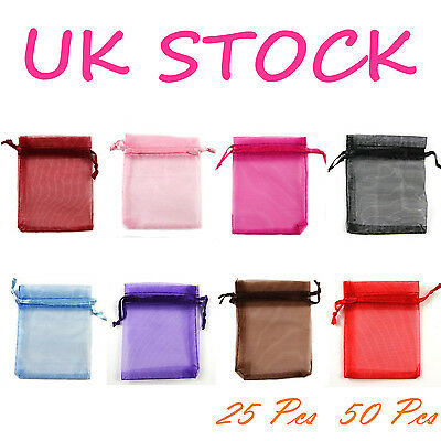 XMAS GIFTS BAGS ORGANZA Wedding Favour Jewellery Candy Pouches Size 7x9cm/9x12cm