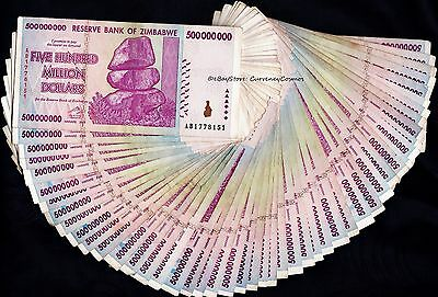 Quantity: 50 of the 500 Million Zimbabwe Dollars Bank Notes AA AB 2008 ½ Bundle