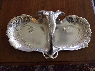 Vintage Rare WMF Art Nouveau Figural Decorated Sliver Plated Serving Tray