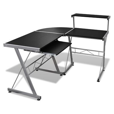 # Black Office Computer Desk Corner Table Keyboard Tray Top Shelf Student Study