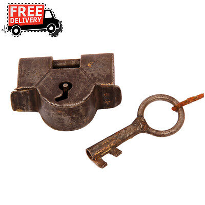 1800's Old Iron Handforged Unique Shape Strip System Pad Lock , Rich Patina 49