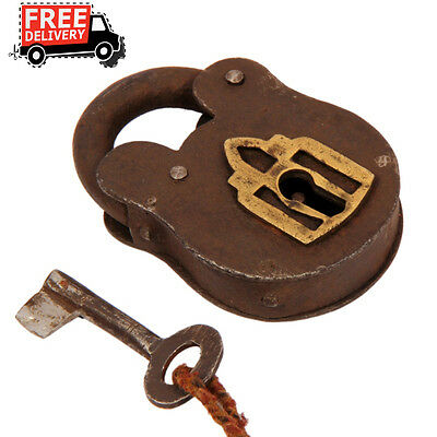 Old Iron Handforged Unique Shape Strip System Pad Lock , Rich Patina 46