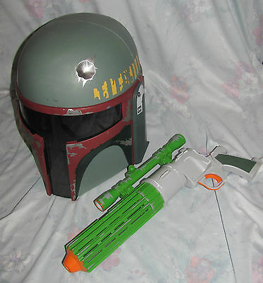 2009 Electronic talking Adult size Boba Fett Helmet and Rifle/Blaster Cosplay