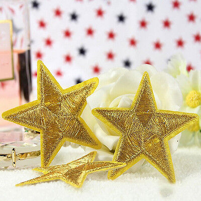 New Golden STAR embroidered applique iron on patch badge motif DIY Sewing 5cm