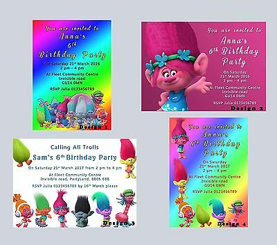 Trolls Personalised Party Birthday Invitations, invites, Boys, Girls, Kids-proof