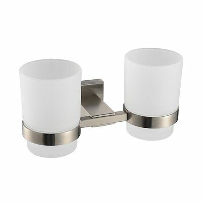 Bathroom Lavatory Double Glass Tumbler with Holder Wall Mount  Brushed Stainless