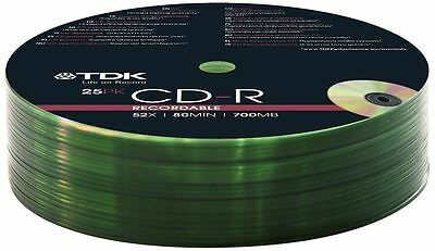 25 x TDK CD-R 700MB 80 MINUTE 52X SPEED RECORDABLE BLANK DISCS SHRINK WRAP