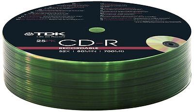 100 x TDK CD-R 700MB 80 MINUTE 52X SPEED RECORDABLE BLANK DISCS SHRINK WRAP