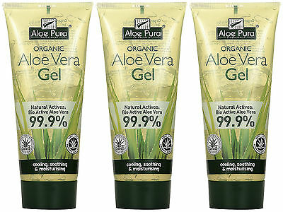 Aloe Pura Organic Aloe Vera Gel 200ml THREE TUBES