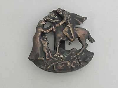 Vintage brass door knocker  VIKING on Horseback  Made in Denmark