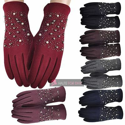 Women'S Ladies Elegant Shining Pearls Touch Finger Warm Winter Gloves