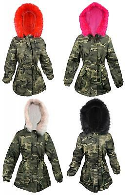 Girls Coat Faux Fur Lined Anorak Army Camo Khaki Parka Style Combat 3 - 14 Years