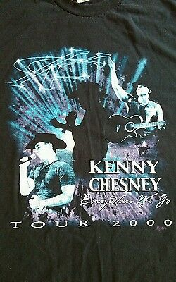Kenny Chesney t shirt 2000 tour everywhere we go large concert