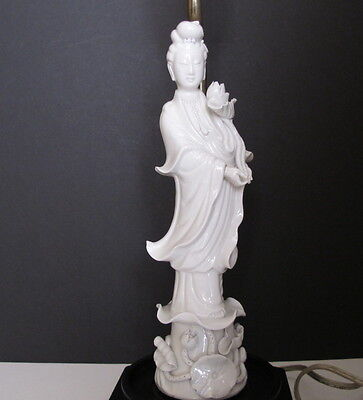 Antique Asian Chinese Blanc de Chine Kwan Yin Statue Figural Lamp on Wood Base