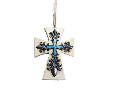 FLEUR DE LIS Cross With Turquoise Accent - Tree or Christmas Tree - Rustic Decor