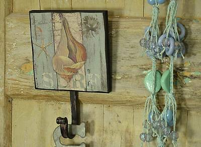 Antique Style Hook Picture Clothes Hanger Rack Shell Retro Vintage Metal Beach