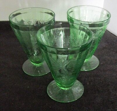 "3 Pcs Jeannette Floral Poinsettia Pat Green Depression 4"" Footed Juice Tumblers"