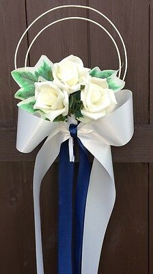 Pew Ends Bows church wedding flowers decorations ROSE Ivy Leaves Navy