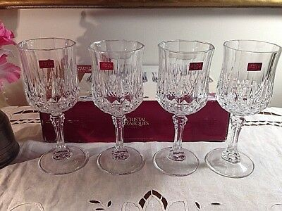 Longchamp Cristal d'Arques France 24% Lead Crystal Wine Glasses Set of 4 NEW!