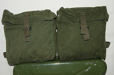 British Army Motorcycle Or Bike Tools Pannier Heavy Duty Canvas Green Pouches
