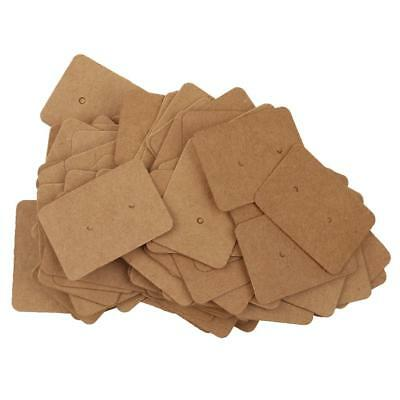 100pcs Brown Kraft Paper Studs Earring Display Cards Jewelry Package