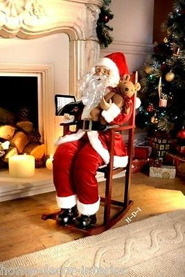 Christmas Festive Large 75cm Santa Father Rocking Chair Home Decoration New
