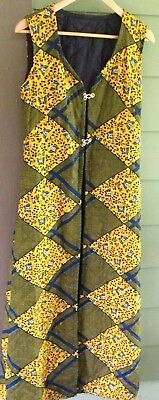 Vintage 70s Quilted Hippie Ankle Length Maxi Vest Jacket Butterfly Yellow & Navy