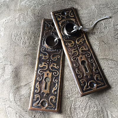 Antique Pair Of Stamped Art Deco/nouveau Pattern Backplates #2