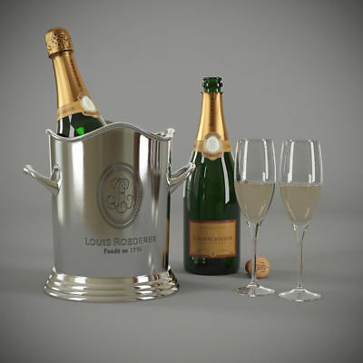 Champagne Bucket Louis Roederer ~ Ice Bucket Nickel Finish ! CHRISTMAS GIFT !!!